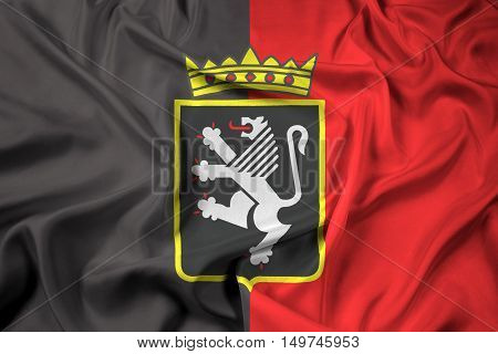 Waving Flag Of Aosta Valley With Coat Of Arms, Italy