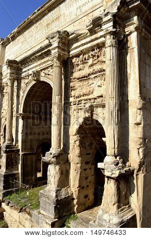 Rome Italy - September 12 2016 : The historical Roman Forum in Rome