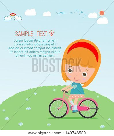 Kids riding bikes, Child riding bike, kids on bicycle vector on background,Illustration of a group of kids biking on a white background.