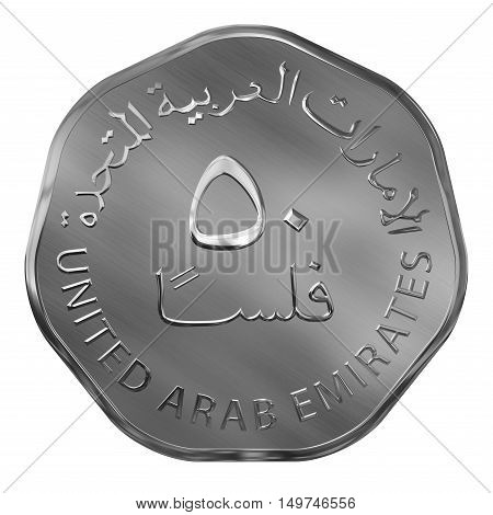 Isolated Silver Fifty Fills Illustrated Coin UAE