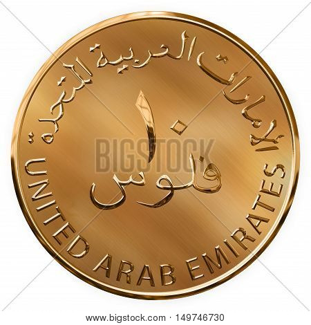 Isolated Golden Ten Fills Illustrated Coin UAE