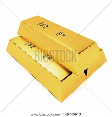 Realistic illustration of golden bars on the white background - 3d renderer