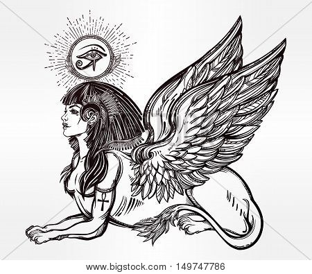 Sphinx, ancient beast. Mythical creature with head of human, body of lion and wings, with the eye of god Ra Horus - ankh. Symbol of wisdom. Isolated vector illustration in line art style.