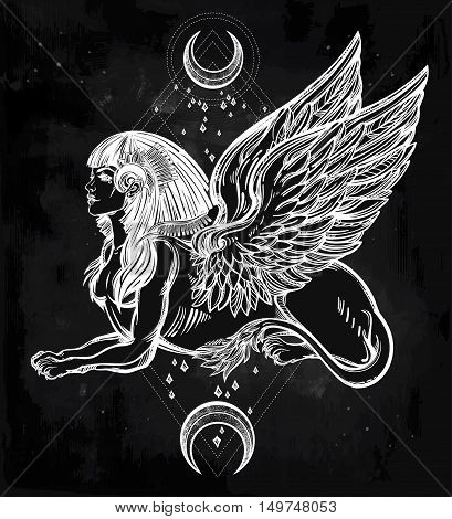 Sphinx, beautiful ancient beast with crescent moons. Mythical creature with head of human, body of lion and wings. Symbol of goddess of wisdom. Isolated vector illustration in line art style.