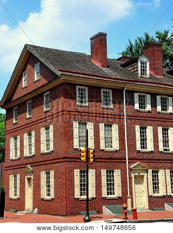 Philadelphia Pennsylvania - June 25 2013: 18th century Flemish Bond brick Todd House home to Dolly Todd Madison in the city's hstoric district
