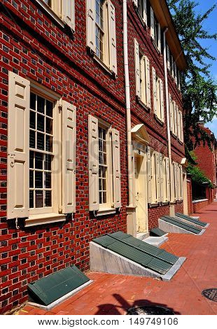 Philadelphia Pennsylvania - June 25 2013: 18th century Todd House home of Dolly Todd Madison built of Flemish Bond brick