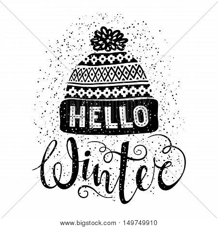 Hello winter text and knitted woolen cap. Seasonal shopping concept design for banner or label. Isolated vector illustration.