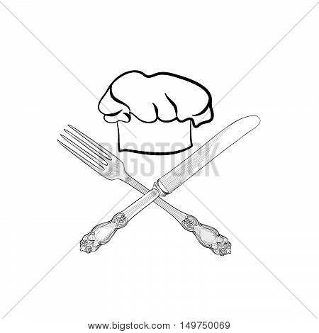 Chef cook hat with fork and knife hand drawing sketch label. Cutlery vector icon. Catering and restaurant service insignia. Restaurant symbol chef cook hat.