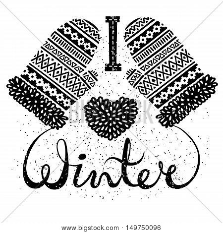 I love winter text and knitted woolen mittens heart. Seasonal shopping concept design for the banner or label. Isolated vector illustration.
