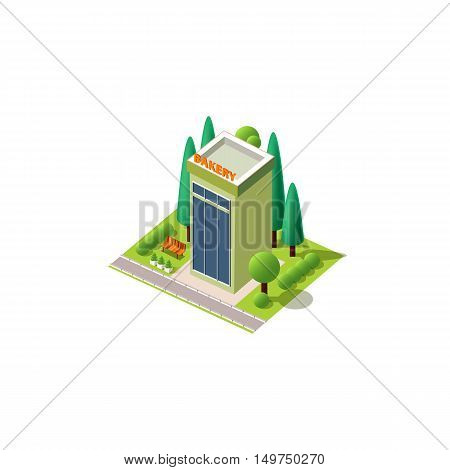 Stock vector illustration isometrics isolated multi-storey bakery with arranged territory for business center on a white background