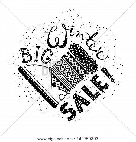 Winter Special banner or label with boot. Business seasonal shopping concept big sale. Isolated vector illustration.