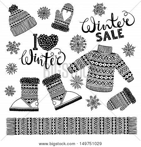 Set drawings knitted woolen clothing and footwear. Sweater, hat, mitten, boot, scarf with patterns, snowflakes. Winter sale shopping concept to design banners, price or label. Isolated vector illustration.