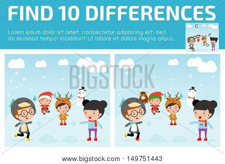 find differences,Game for kids ,find differences,Brain games, children game, Educational Game for Preschool Children, Vector , Kids With Christmas Costumes, christmas and children ,happy new year.