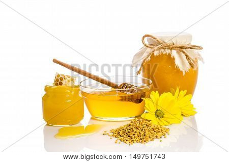 Bee Products: Honey, Pollen, Honeycomb On White Background