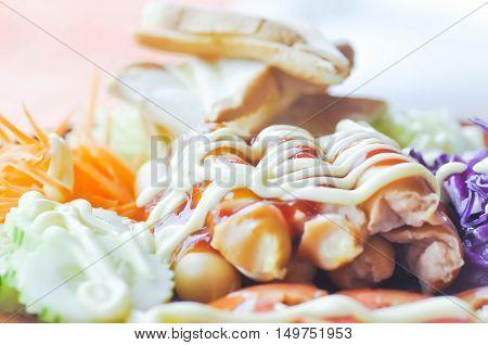 sausage with vegetable or sausage salad dish