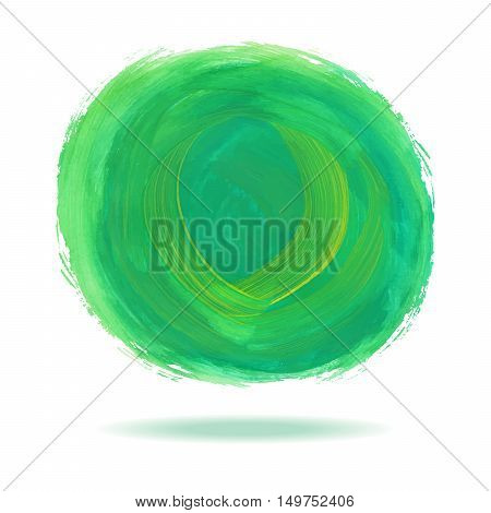 Green watercolor circle spot with shadow on white bacground vector illustration