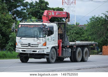 CHIANGMAI THAILAND -SEPTEMBER 1 2016: Truck with crane of Metro Politance Product company. Photo at road no 121 about 8 km from downtown Chiangmai thailand.