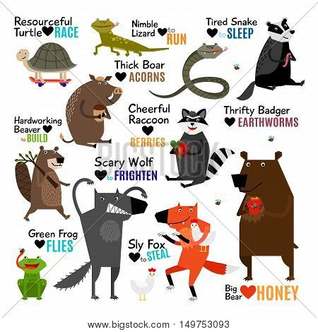 Set of cartoon wild animals with captions