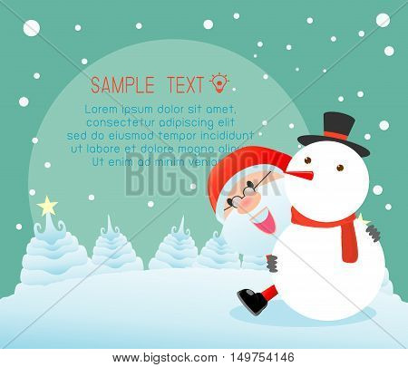 santa and snowman,Merry Christmas, Happy new year, Merry Christmas design with wide copy space, Santa Claus,card, background card greeting, Vector Illustration
