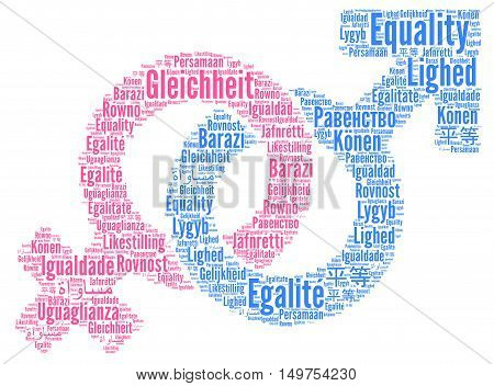 Equality word cloud in different languages with a white background