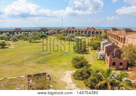 Aerial view of inner courtyard of Fort Jefferson, a historical military fortress, in Dry Tortugas National Park, Florida.Fort Jefferson was built to protect the United States' southeastern seaboard.