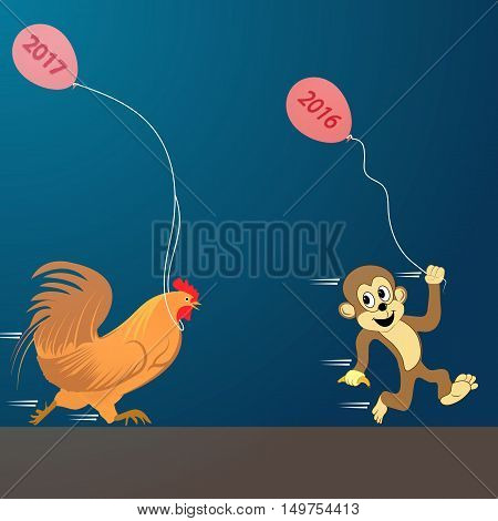 Cock with monkey set. Vector illustration. new Year 2017