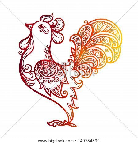Red fiery colors hand drawn ornate rooster - Chinese symbol of 2017 new year