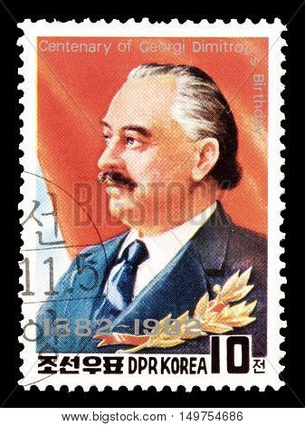 NORTH KOREA - CIRCA 1982 : Cancelled postage stamp printed by North Korea, that shows Georgi Dimitrov.