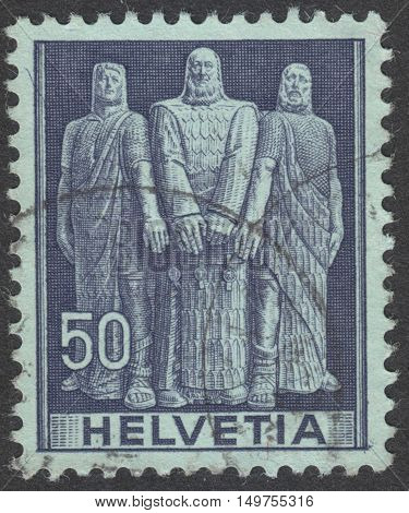 MOSCOW RUSSIA - CIRCA SEPTEMBER 2016: a stamp printed in SWITZERLAND shows Oath of the three original cantons the series