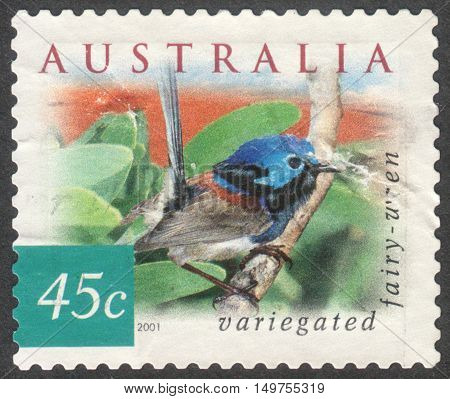 MOSCOW RUSSIA - CIRCA SEPTEMBER 2016: a stamp printed in AUSTRALIA shows a Malurus lamberti bird the series