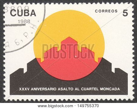 MOSCOW RUSSIA - CIRCA SEPTEMBER 2016: a stamp printed in CUBA dedicated to the 35th Anniversary of the Assault on Moncada Fortress circa 1988
