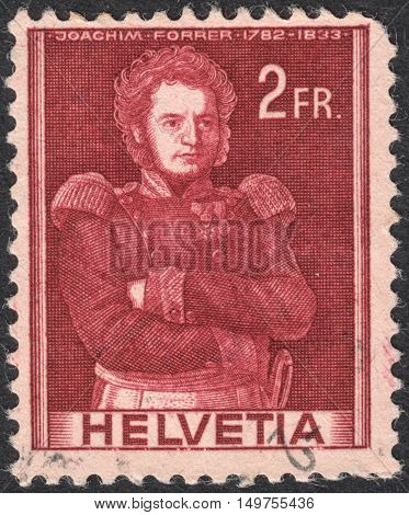 MOSCOW RUSSIA - CIRCA SEPTEMBER 2016: a stamp printed in SWITZERLAND shows a portrait of Colonel Joachim Forrer the series