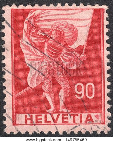 MOSCOW RUSSIA - CIRCA SEPTEMBER 2016: a stamp printed in SWITZERLAND shows Standard bearer the series