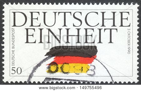 MOSCOW RUSSIA - CIRCA SEPTEMBER 2016: a stamp printed in GERMANY shows the flag of Germany the series