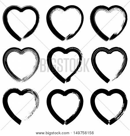 Set Of Black Hand Drawn Hearts On White Background.
