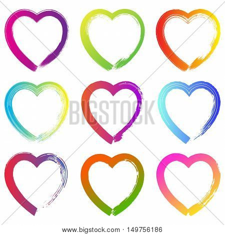 Set Of Colorful Grunge Hand Drawn Hearts On White Background. Ha