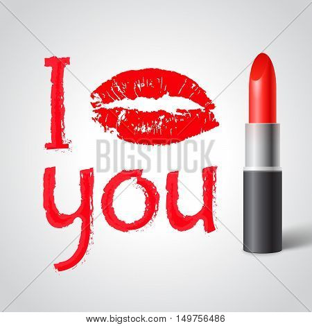 Red lipstick print I KISS YOU with red lips and red lipstick on white background vector illustration