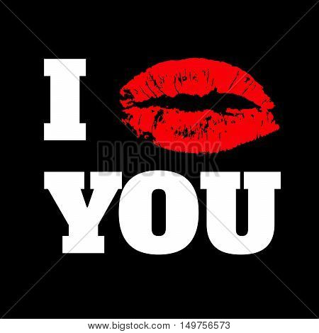 I LOVE YOU text with red lips print  on black background vector illustration