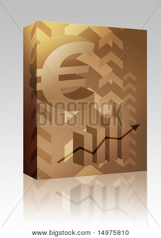 Software package box Abstract financial success illustration with Euro currency