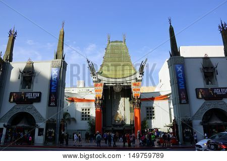 LOS ANGELES - JANUARY 23:: Afternoon shadow casts on Grauman's Chinese Theater with IMAX on January 23 2014 located on Hollywood Boulevard in Hollywood California. Hand prints of celebrities are ensconced in front of the building.