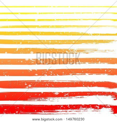 Colorful grunge hand drawn brushstrokes with spots on white background vector illustration. Hand drawn brush stroke