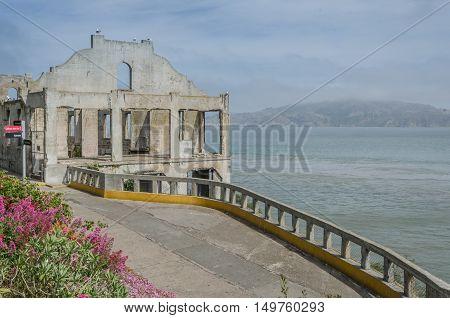 House On Alcatraz Island Of San Francisco..