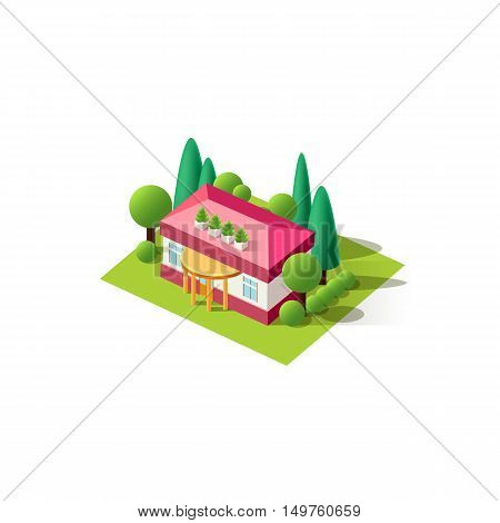Stock vector illustration isometrics isolated cottage building, private house, vacation home, villa with arranged territory element for city info graphic on a white background