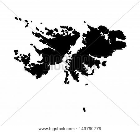 Silhouette map of the South American Falkland Islands