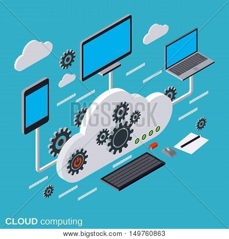 Cloud computing, network, data processing flat isometric vector concept illustration