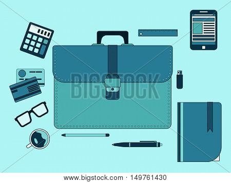 Business thin line art style vector illustration. Web design elements collection