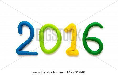plasticine figures symbol 2016 isolated on white background