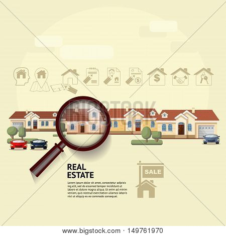 House under magnifying glass. Vector illustration of real estate concept with magnifying glass, icons and your dream house. Suitable for posters, flyers or advertisement of real estate agents and location.