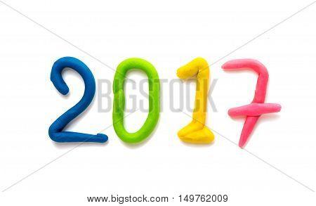 plasticine figures symbol 2017 isolated on white background