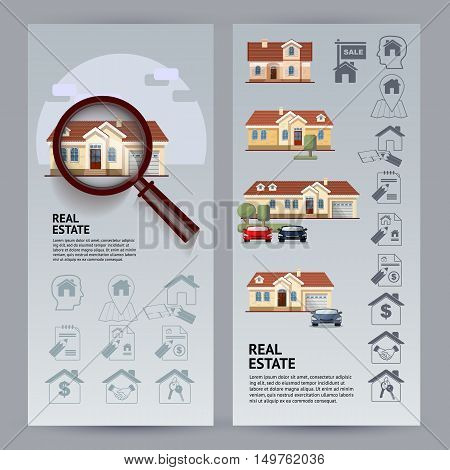 Set Real Estate flyers. Flat style colorful vector illustration with houses, icons, magnifier on blue background.